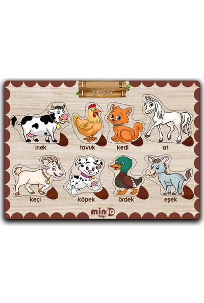 MinİQ Toys Ahşap Türkçe Şekiller-Sebzeler-Meslekler-Çiftlik Hayvanları 4'lü Set Eğitici-Öğretici Yapboz