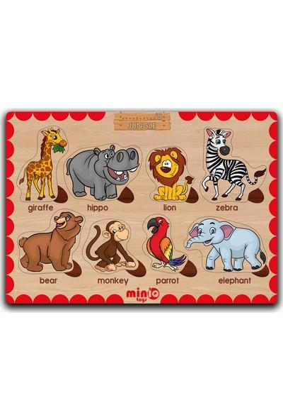 MinİQ Toys Ahşap Ingilizce Şekiller-Meyveler-Meslekler-Orman Hayvanları 4'lü Set Eğitici-Öğretici Yapboz