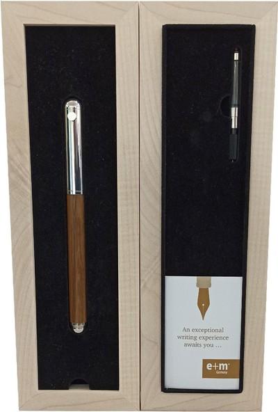 E+M Classic Meşe Ağacı Uzun Dolma Kalem Bronz Beyaz 8615-65