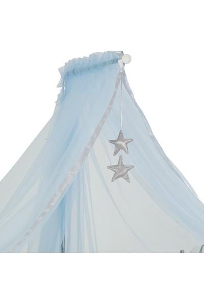 G&G Gümüş Yıldızlı Mavi Cibinlik Tülü & Metal Cibinlik Askısı