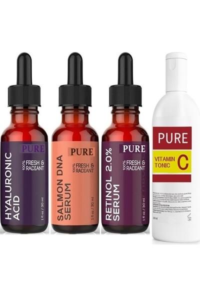 Pure Somon Dna + Hyaluronic Acid + Retinol +Vitamin C Yüz Temizleme Toniği Pure
