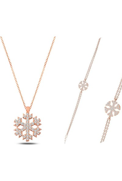 Esjewelry Rose Kaplama Kar Tanesi Model Kadın Gümüş Set