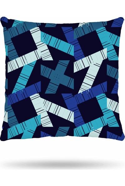 NevresimEv Mavi Geometrik Desenli 4'lü Kırlent Kılıfı -K47