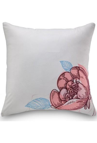 NevresimEv Çiçek Desenli 4'lü Dekoratif Kırlent Kılıfı Seti Pudra -K01