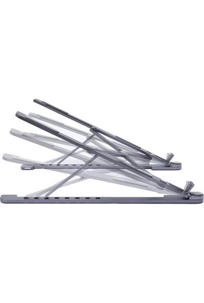 Lapt Deri Kaplı Metal 8 Kademeli Laptop Standı Taşıabilir