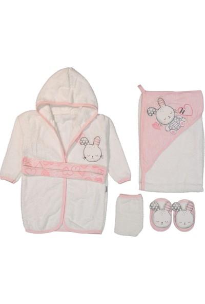 Miniworld Kalpli Kabartmalı Tavşanlı 5 Parça Bebek Bornoz Seti