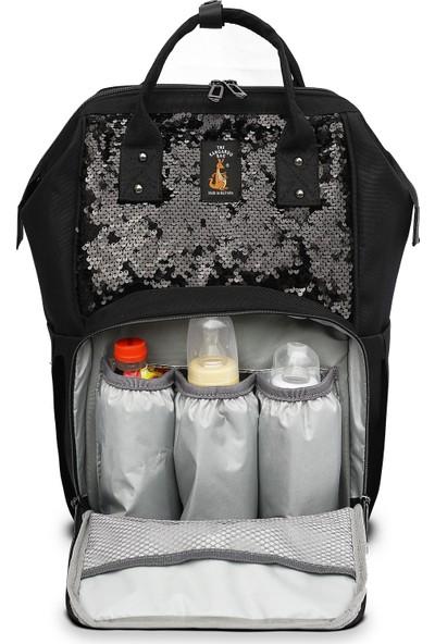 The Kangaroo Bag Luxury Anne Bebek Bakım Sırt Çantası Siyah Pullu