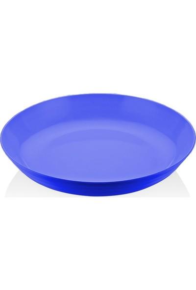Biradlı Melamin Yuvarlak Tabak Mavi 33X9 cm