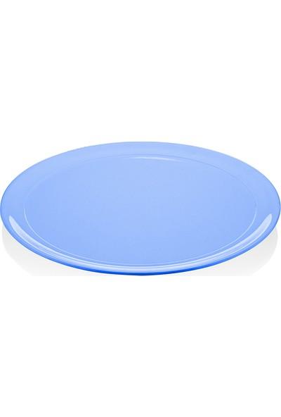 Biradlı Melamin Yuvarlak Tabak Mavi 45X3