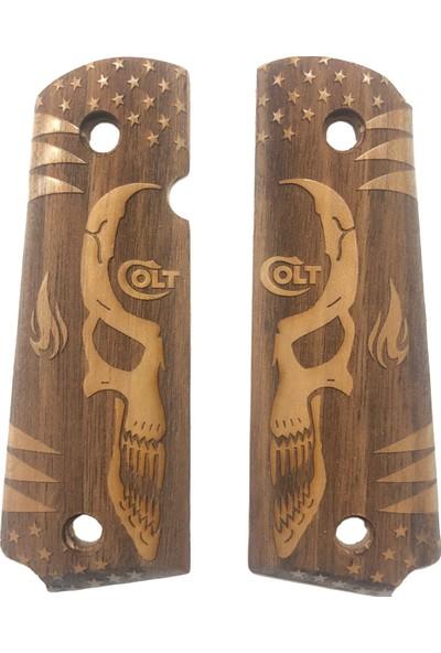 Colt 1911 Colt Yazılı Gülen Yüz ve Alev Model Lazer Kesim Ahşap Yeni Tasarım Kabze MOD36 Şaftol Boyama