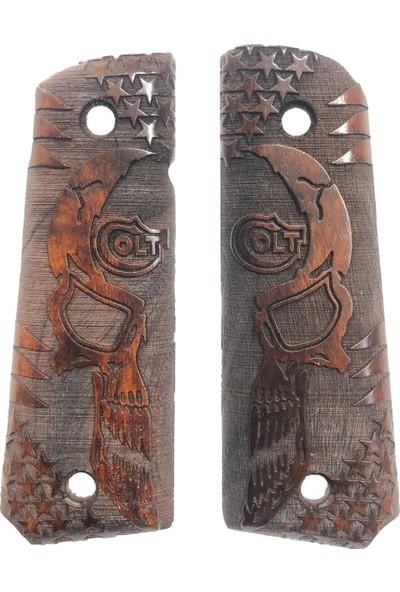 Colt 1911 Colt Yazılı Özel Seri Gülen Yüz Lazer Kesim Ahşap Kabze MOD24