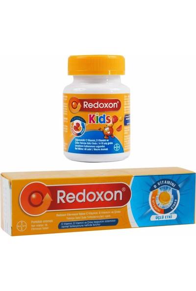 Redoxon Üçlü Etki Efervesan 15 Tablet + Redoxon Kids 60 Çiğnenebilir Tablet