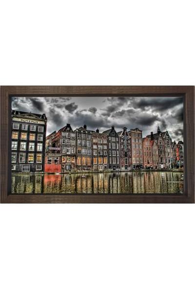 Deniz Çerçeve Amsterdam ve Amstel Irmağı Tablosu Kahverengi Ahşap Çerçeve