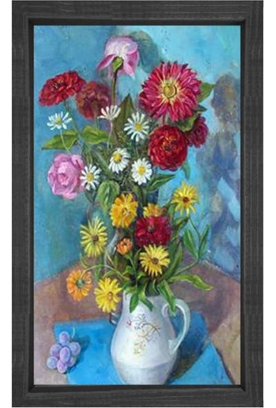 Deniz Çerçeve Renkli Çiçekler Tablosu Siyah Ahşap Çerçeve