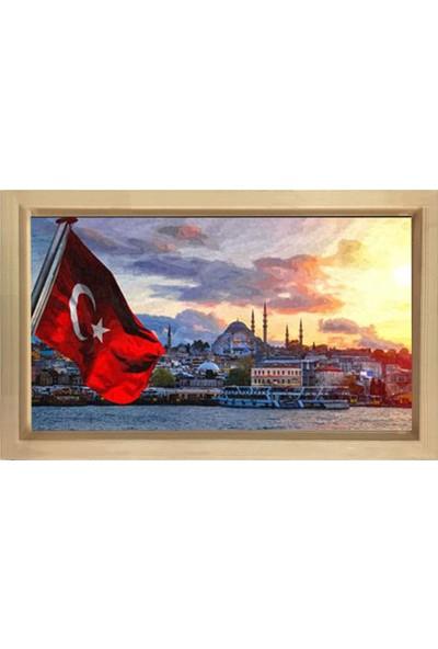 Deniz Çerçeve Bayrak ve Süleymaniye Camii Tablosu Naturel Ahşap Çerçeve