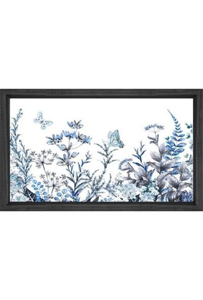 Deniz Çerçeve Mavi Kelebekli Çiçekler Tablosu Siyah Ahşap Çerçeve