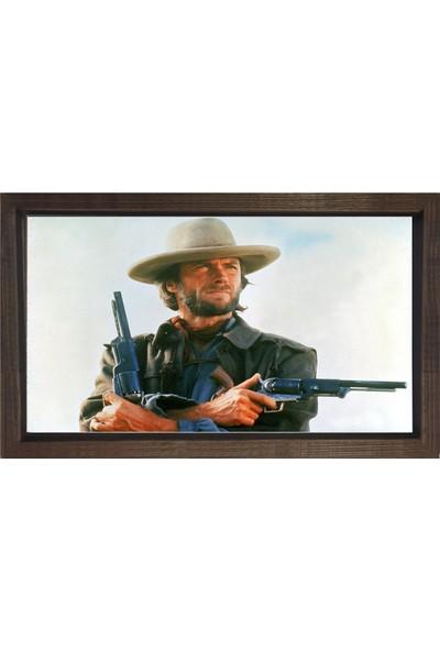 Deniz Çerçeve Clint Eastwood ve Tabancalar Tablosu Kahverengi Ahşap Çerçeve
