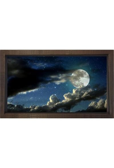 Deniz Çerçeve Gece Gökyüzü Manzarası Tablosu Kahverengi Ahşap Çerçeve
