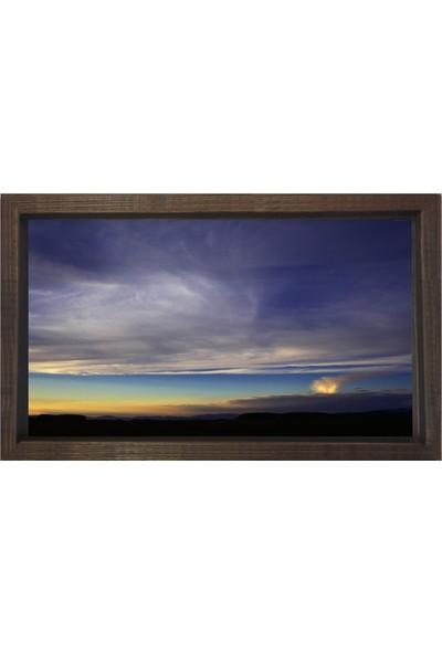 Deniz Çerçeve Gökyüzü Manzarası Tablosu Kahverengi Ahşap Çerçeve