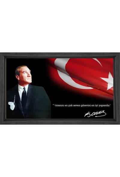 Deniz Çerçeve Atatürk ve Bayrak Tablosu Siyah Ahşap Çerçeve