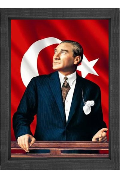Deniz Çerçeve Atatürk Türk Bayrağı Siyah Ahşap Çerçeve