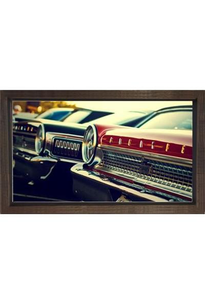Deniz Çerçeve Klasik Arabalar Tablosu Kahverengi Ahşap Çerçeve