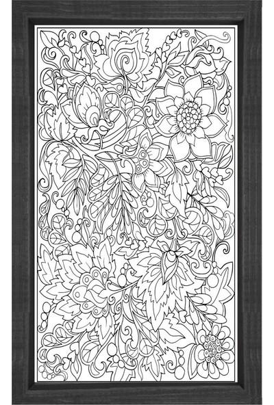 Deniz Çerçeve Çiçekli Desen Boyama Tablo Tablosu Siyah Ahşap Çerçeve