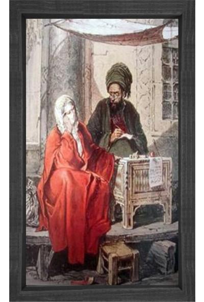 Deniz Çerçeve Osmanlı Kadını Ve Adam Tablosu Siyah Ahşap Çerçeve