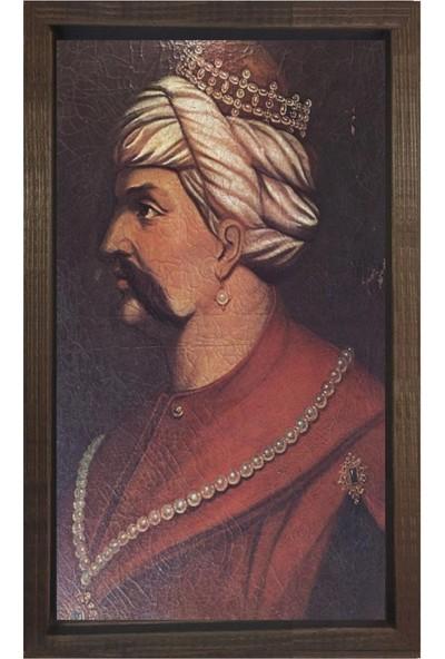 Deniz Çerçeve Yavuz Sultan Selim Tablosu Kahverengi Ahşap Çerçeve