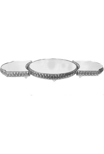 Kerem Metal Lüks Aynalı 3 Lü Jardinyer Takımı Altın ve Gümüş 84 Cm.