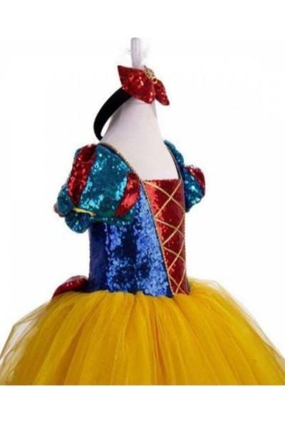 Deha Moda Kız Çocuk Sarı Berra Tarlatanlı Pelerinli Taçlı Pamuk Prenses Kostüm