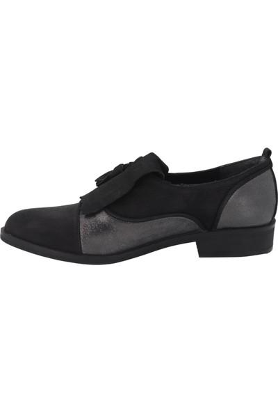 Venüs Siyah Gümüş Deri Günlük Kadın Ayakkabı 145414
