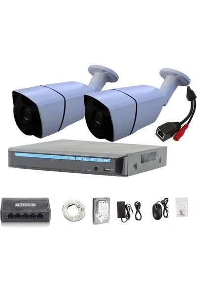 QROMAX PRO 2027 IP 2'Li 5 Megapiksel Sony Lens 1080P Aptina Sensör Network Güvenlik Kamerası Seti