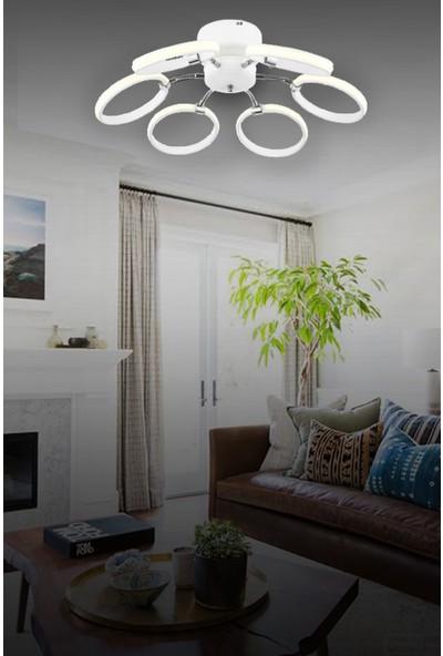 Lunalighting Modern 6 Kollu Beyaz LED Avize Plafonyer Ledli