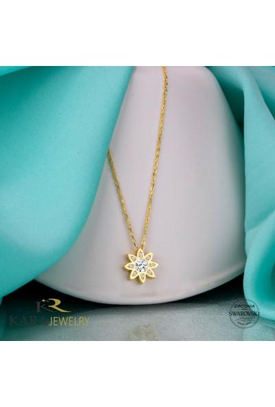 Swarovski Gümüş Kolye Swarovskı Taşlı Papatya Temalı Altın Kaplama Bayan Kolye