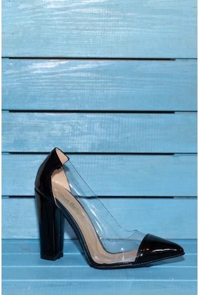 Papuç Şeffaf Kalın Siyah Yüksek Topuklu Ayakkabı