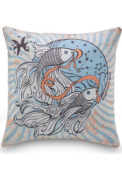 NevresimEv Balık Burcu Zodiac Dekoratif Kırlent Kılıfı -K21