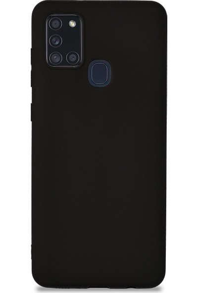CepArea Samsung Galaxy A21S Kılıf Ince Renkli Yumuşak Silikon Kapak Case + Kırılmaz Cam Siyah