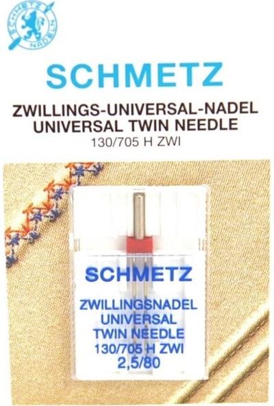 Schmetz Ev Tipi Çiftli Dikiş Iğnesi 2.5/80 / 130/705 H-E Zwı