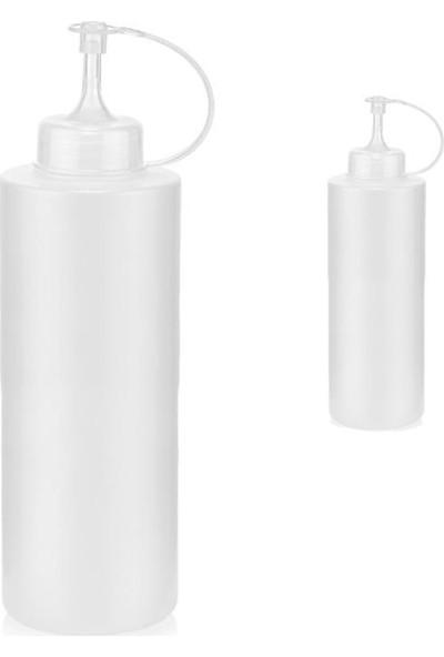 Qlux 2'li Sızdırmaz Kapaklı Plastik Yağ & Sos Şişesi