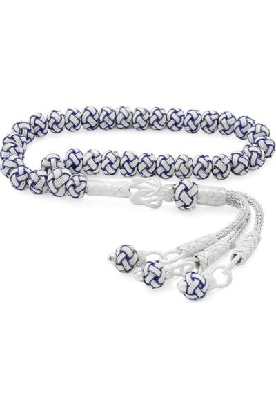 Merishopping El Işçiliği Küre Kesim Bilek Boy Mavi-Beyaz 1000 Ayar Gümüş Kazaz Tesbih