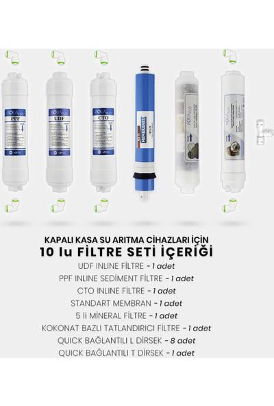 Milsuart Kapalı Kasa Su Arıtma Cihazı 10lu Filtresi Standart Membranlı Set