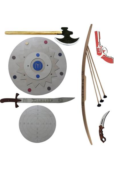 Ahtek Ahşap Kalkan Kılıç 7'li Set