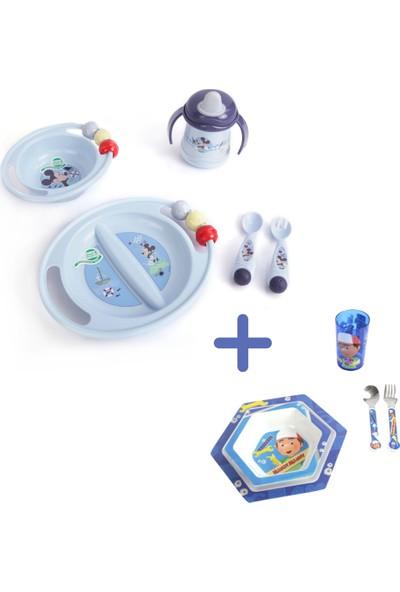 Trudeau 2 Set Beraber 5'li Disney Mickey Bebek Mama Seti + 5'li Disney Handy Manny Çocuk Yemek Takımı