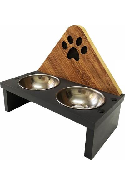 Xrades Ahşap Kedi Mama Kabı -Paslanmaz Çelik