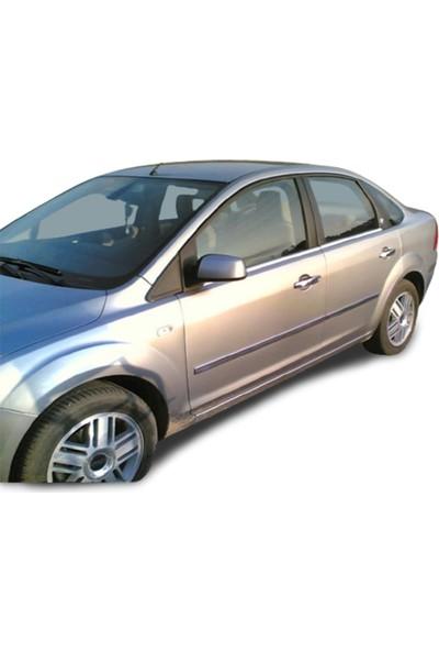 Blue Ford Focus 2 Sedan Krom Cam Çıtası (2005-2008) Paslanmaz Çelik 4 Parça
