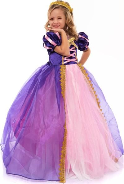 Deha Moda Kız Çocuk Elbise Taçlı Rapunzel Kostümü - Pelerinli Taclı Tarlatanlı Rapunzel Kostüm -