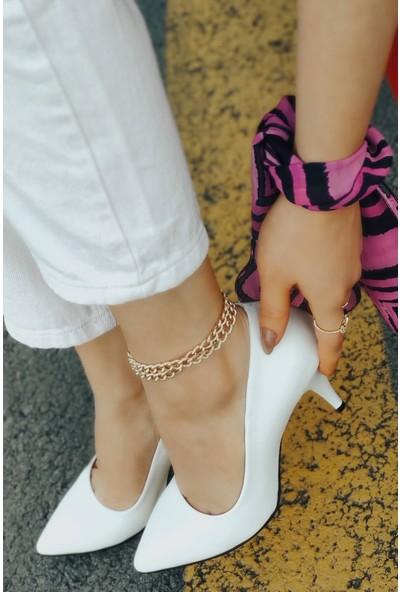 Anabelle Deri Beyaz Topuklu Stiletto