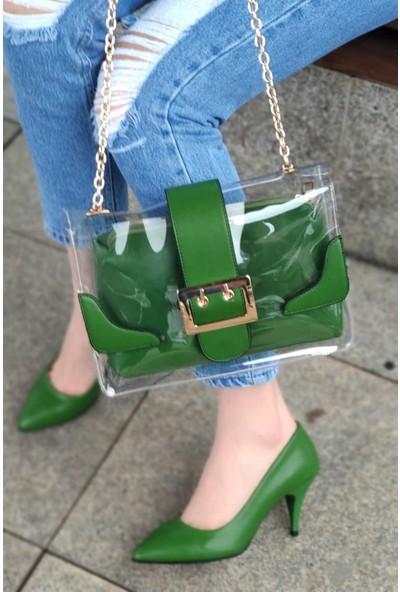 Anabelle Deri Çimen Yeşili Topuklu Stiletto