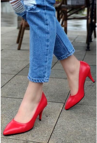Anabelle Deri Kırmızı Topuklu Stiletto